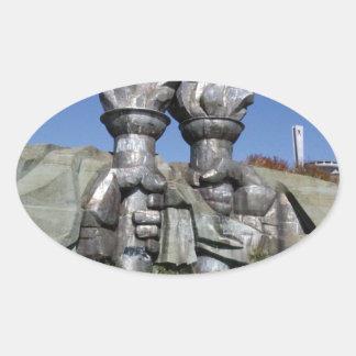 Burning torch sculpture Buzludzha monument Oval Sticker