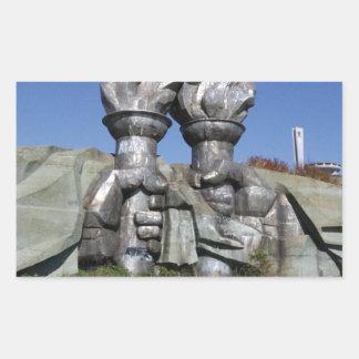 Burning torch sculpture Buzludzha monument Rectangular Sticker