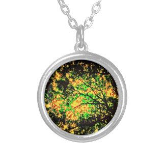 Burning Trees Round Pendant Necklace