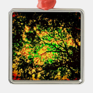 Burning Trees Silver-Colored Square Decoration