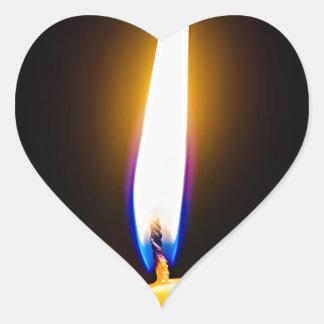 Burning wax candle heart sticker