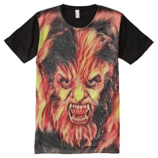 Burning Wolfman Dark Horror Fantasy Art All-Over Print T-Shirt