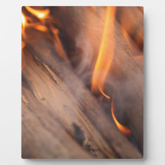 Burning wood branches display plaques