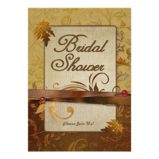 Burnished Autumn Gold Bridal Shower Personalized Invite