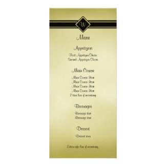 Burnished Gold Black Monogram Wedding Menu Rack Card Design