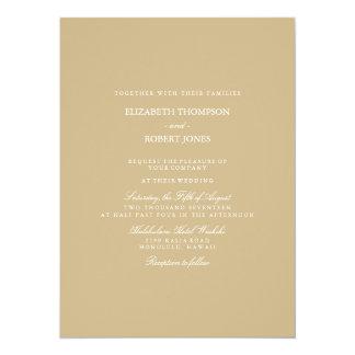 Burnished Matte Gold Wedding 14 Cm X 19 Cm Invitation Card