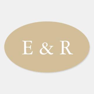 Burnished Matte Gold Wedding Oval Sticker