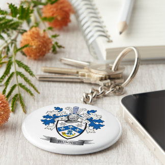 Burns Family Crest Coat of Arms Key Ring