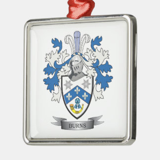 Burns Family Crest Coat of Arms Silver-Colored Square Decoration