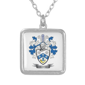 Burns Family Crest Coat of Arms Silver Plated Necklace