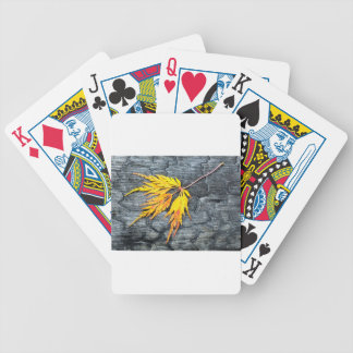 Burnt black wood with yellow leaf bicycle playing cards