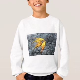 Burnt black wood with yellow leaf sweatshirt