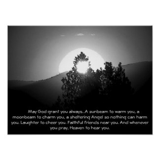 Burnt by a moonbeam w/Irish Blessing Poster