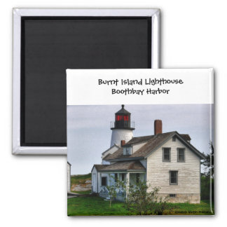 Burnt Island Lighthouse-Magnet Square Magnet