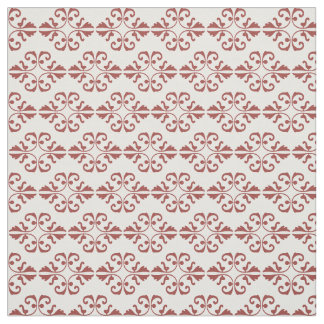 Burnt ombre damask pattern on white background fabric