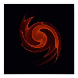 Burnt Orange Abstract Spiral Sea Shell Poster