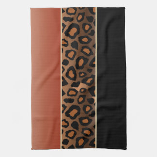 Burnt Orange and Black Leopard Animal Print Tea Towel