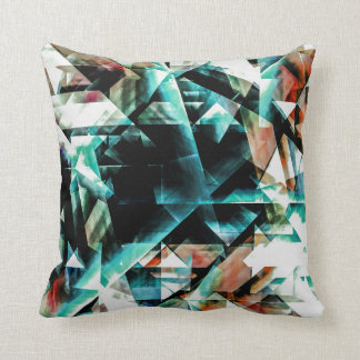 Burnt Orange and Jade Green Geometric Pattern Cushion