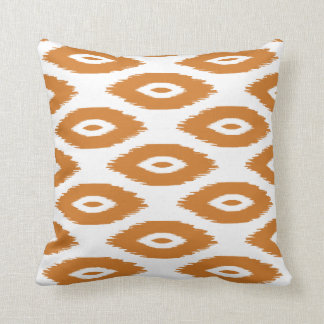 Burnt Orange and White Tribal Ikat Dots Cushion