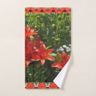 Burnt Orange Asiatic Lilies Hand Towel