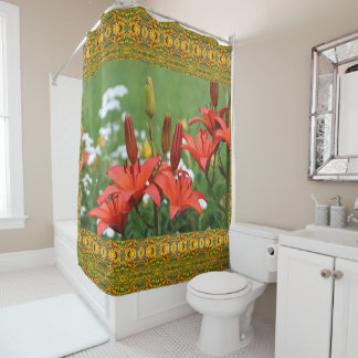 Burnt Orange Asiatic Lilies Shower Curtain