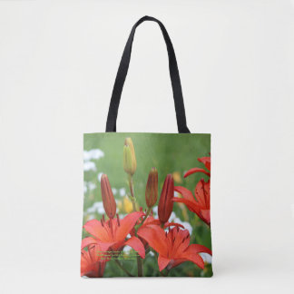 Burnt Orange Asiatic Lilies & The Pearl Tote Bag