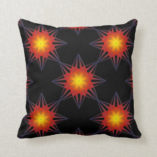 Burnt Orange Black Yellow Star Flower Throw Pillow