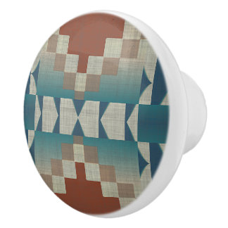 Burnt Orange Brown Teal Blue Eclectic Ethnic Look Ceramic Knob