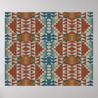 Burnt Orange Brown Teal Blue Ethnic Tribal Mosaic Poster