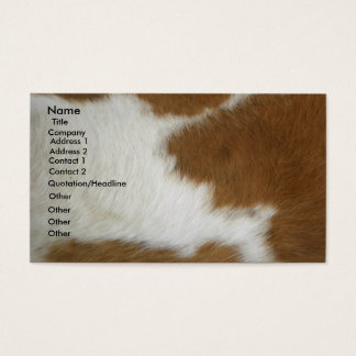 Burnt orange cowhide business card