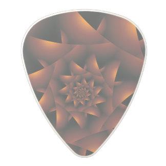 Burnt Orange Dark Spiral Fractal Guitar Pick Polycarbonate Guitar Pick