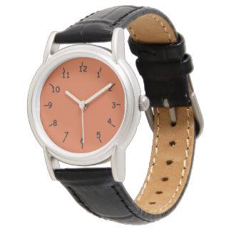Burnt Orange Face Classic Black Leather Watch