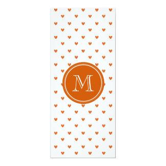 Burnt Orange Glitter Hearts with Monogram 10 Cm X 24 Cm Invitation Card