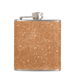Burnt Orange Glitter Sparkles Hip Flask
