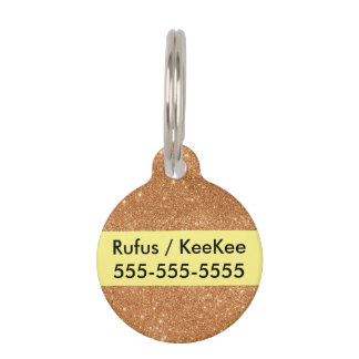 Burnt Orange Glitter Sparkles Pet Tag