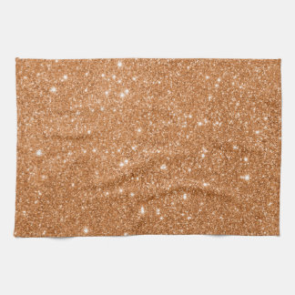 Burnt Orange Glitter Sparkles Tea Towel