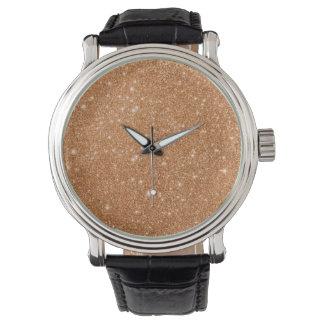 Burnt Orange Glitter Sparkles Watch