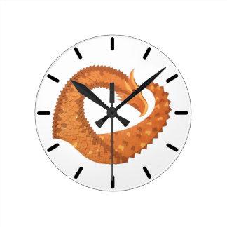 Burnt orange heart dragon on white round clock