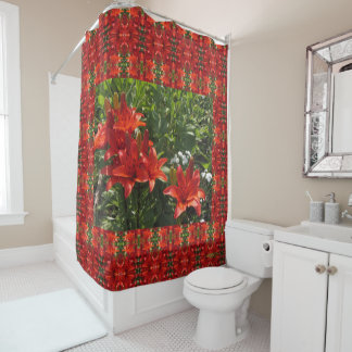 Burnt Orange Lilies and Frame Shower Curtain