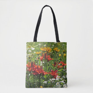Burnt Orange Lilies, Gloriosas & Daisies Tote Bag