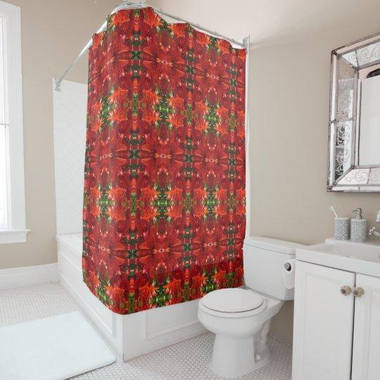 Burnt Orange Lilies Medium Geometric Shower Curtain