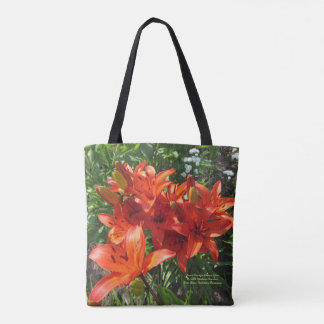 Burnt Orange Lilies Tote Bag