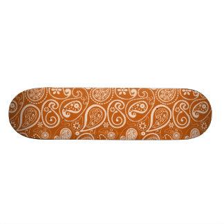 Burnt Orange Paisley Floral Skate Deck