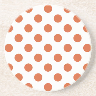 Burnt orange polka dots beverage coasters