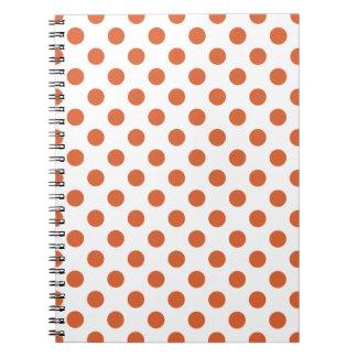 Burnt orange polka dots spiral notebook