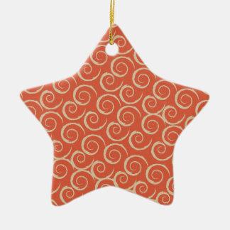 Burnt Orange Retro Swirl Pattern Ceramic Star Decoration