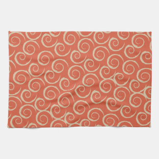 Burnt Orange Retro Swirl Pattern Tea Towel