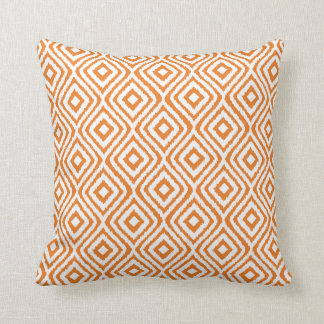 Burnt Orange Tribal Ikat Diamond Pattern Cushion