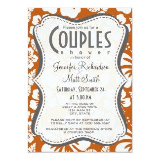 Burnt Orange Tropical Hibiscus 11 Cm X 16 Cm Invitation Card