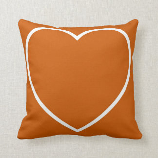 Burnt Orange & White Heart Cushion